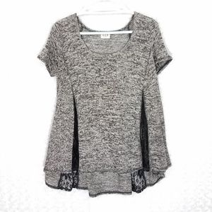 H. I. P.  Black and Gray Flowy Lace Detail Top